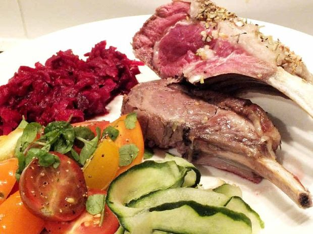 Lamb with pickled beetroot and heirloom and watercress salad.