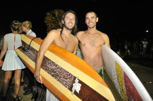 Rodrigo Cassiano and Rick Cowley surfed they first waves of 2013 in Byron Bay during the NYE celebrations Photo Mireille Merlet-Shaw / The Northern Star
