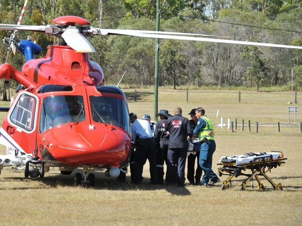 An accident on the Brisbane Valley Highway near Fernvale where a woman was trapped under her car.