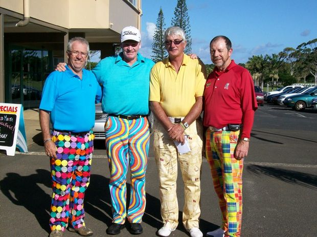 Ken McIntosh, Colin Edwards, Greg Cross and Mike Kelly rocked the Loudmouth look at a previous challenge. Photo: Contributed