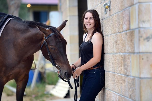 Leah McGrath is a horse instructor at Harmony Farm in the Boyne Valley, south of Gladstone.