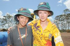 Cooper Robertson and Emily Keen prepare to say goodbye to the scout jamboree.