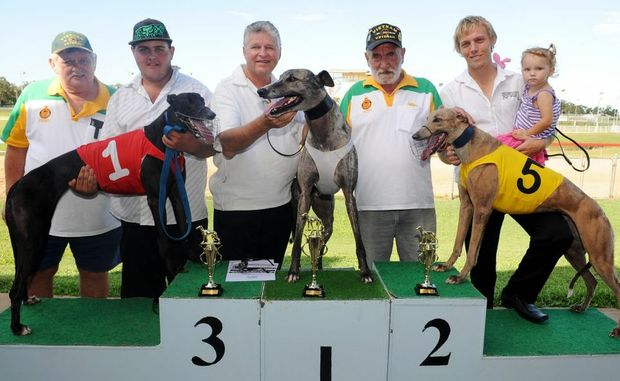 ANZAC CUP: Vietnam veteran Jim Harvey, Brodie Burgess, Gary Keep, Vietnam veteran Len Reichle, Chris Gear and his daughter Jade Gear with the place getters in the Anzac Day Cup Smart Force, One In Ten and Oh My Papa, Keep had success at Thabeban Park at the weekend. Photo: Max Fleet/NewsMail