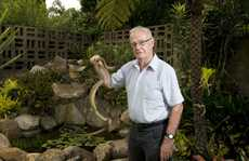Rowbotham St resident Bruce Simpson holds the Eastern brown snake he found in his backyard.