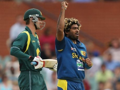 Lasith Malinga of Sri Lanka celebrates after he got the wicket of Kane Richardson of Australia during game two of the Commonwealth Bank One Day International series between Australia and Sri Lanka at Adelaide Oval on January 13, 2013.