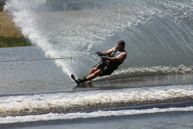 UP AND RUNNING: Grafton's Mick Schache sends up the spray during waterskiing competition at Storm King Dam. Photo Daniel Elliott / Stanthorpe Border Post