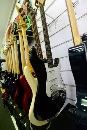 Musical instruments at Speedi Cash in Rockhampton. Photo Sharyn O'Neill / The Morning Bulletin