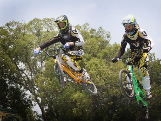Hayden and Sara Jones from Caboolture BMX Club look forward to aiming high in the Shootout series. Photo Vicki Wood / Caboolture News