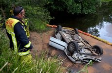 Car into the Tweed river past Murwillumbah Photo: John Gass / Daily News