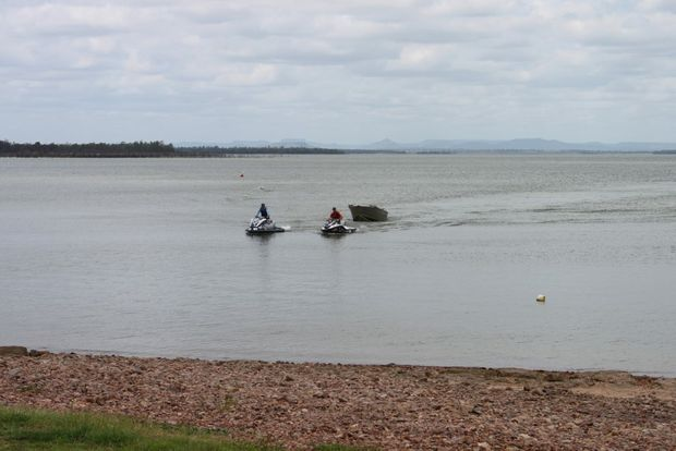 Two Emerald men have been saved from their sinking boat on Fairbairn Dam today. Photo Tara Miko / CQ News