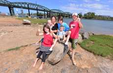 OUR TOWN: Makayla Leigh Bowden, Billee Stehbens, Felicia Bowden, Taitum Bowden, Braedan Swanson and Kurt Stehbens give Bundy a number one for a great place to live. Photo: Scottie Simmonds / NewsMail
