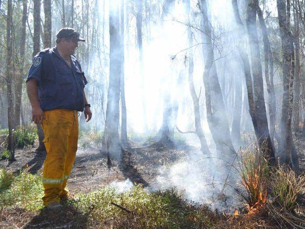 The RFS is keeping watch on a peat fire burning near Woodburn.