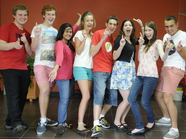 OP 1 students from from Centenary Heights ( from left): Lachlan Webb, Adam Little, Maisha Rahman, Grace Myatt, Alex Hilton, Marissa Andersen, Bernie King and William Searchfield.