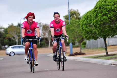 Sean Kelly (right) from Canberra and Tom Kelly from Central NSW are riding from Melbourne to Cairns to raise funds for prostate cancer research, and are passing through Kawana today. Photo: Iain Curry / Sunshine Coast Daily