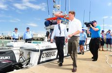 Gladstone Ports Corporation CEO Leo Zussino and Minister Scott Emerson at the opening of Gladstone's new boat ramp complex.