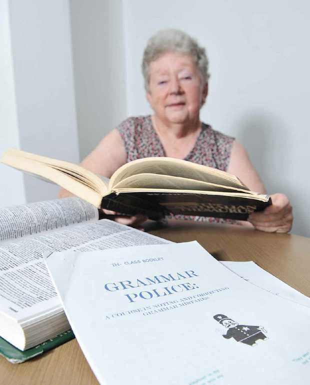 WORD PERFECT: U3A tutor Ann Coburn searches for mistakes in her new grammar class.