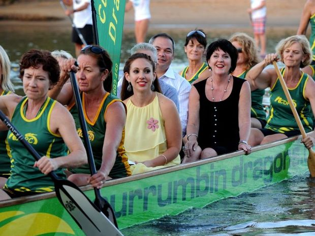 The Bleach opening last night at the Currumbin RSL. Louise Bezzina, Gold Coast mayor Tom Tate, member for Currumbin Jann Stuckey arrive by Dragon boat with Mudgeeraba MP Ros Bates (Hidden).
