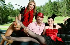 Drift Brookwater owner David Moore with Lauren Eden (left) and Brittney Robertson will host 50 Shades of Red on Valentine's Day.