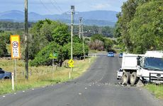 FATAL CRASH: A man died in this crash involving a car and truck on the Haigslea Malabar Rd yesterday afternoon.