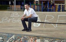 OUTRAGED: Councillor Andrew Antoniolli sits in the skate bowl in Limestone Park.