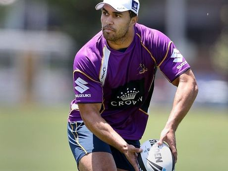 JUSTIN O'Neill looks to pass the ball during training when at the Melbourne Storm.