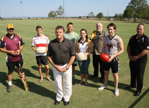 BIG YEAR: New sports co-ordinator David Nugent surrounded by representatives of the resident clubs at Cahill Park.