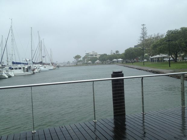 Mooloolaba wharf wild weather