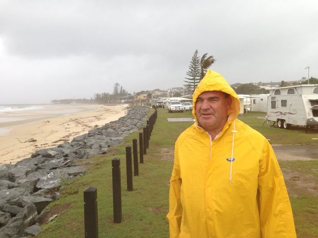 Owen Davy facing the elements at Kingscliff Beach Holiday Park Photo: Troy Kippen