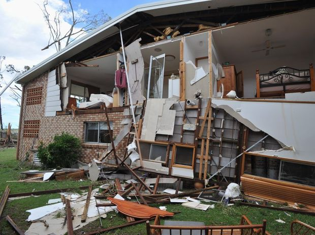 Ann and Barry Roberts' house in Burrum St at Burrum Heads after the tornado.