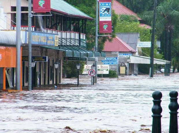 WET BAR: Neil Cahill captured these images of Laidley Creek in flood on Monday morning.
