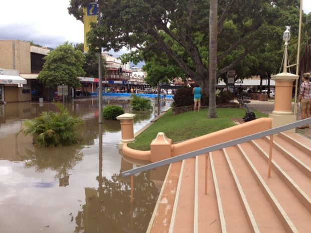 Floodwaters are creeping up the steps of Maryborough City Hall. Photo: Robyne Cuerel