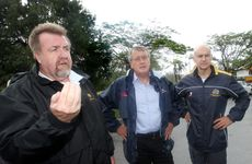 2013 floods. Cr Paul Tully, Deputy PM Wayne Swan and Federal Member for Oxley Bernie Ripoll in Enid Street, Goodna.