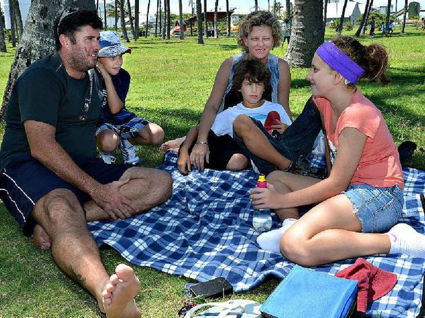 The Williams family Gerard, Bradley, Tanya, Ryan and Maddie WIlliams relax at old Mulherin Park at Mackay Harbour in a bid to beat the heat.