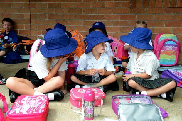 Murwillumbah public school. First day of school. Tess Greasley, Cree Johnson, Tiarna Watkins.