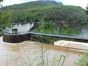 Moogerah Dam spillway in flood