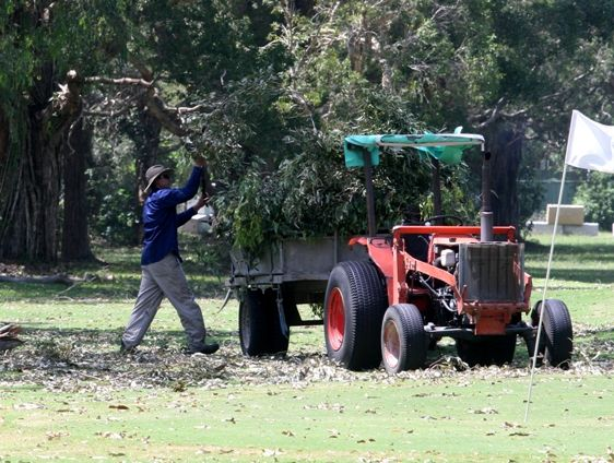 John Brinsmead cleans up on the 18th hole at Chinderah Golf Course.