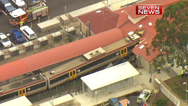 An aerial shot from Seven News of the Cleveland station train crash. Image courtesy Seven News