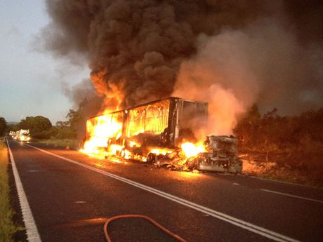 A truck caught fire on the New England Highway about 5am.