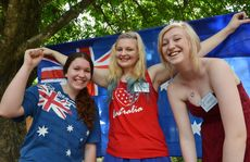 Celebrating Australia Day at Miirani from left, Sian Lewer, Maddie Bryant and Lauren Slater all part of Valley District Youth Council.