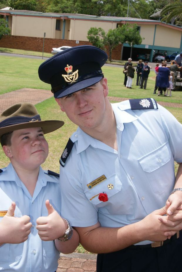 Cadet Aaron Werth and Cadet Warrant Officer Dan Sanders share some smiles.