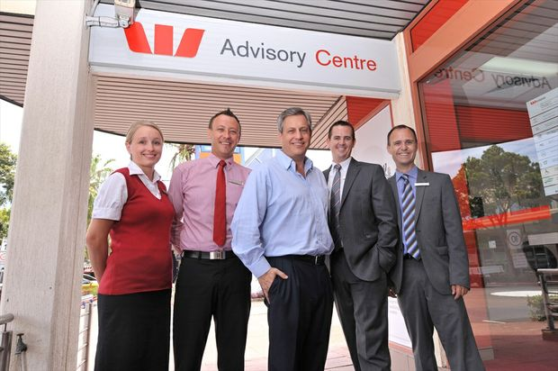 Brian Hartzer (centre), Westpac chief executive of Australian financial services, with (left) Shari Swan, Richard Kneipp, Tim Gold and Brett Phillips, on a visit to the Maroochydore branch of Westpac.