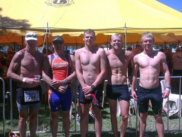 Coffs Harbour triathletes Andrew Rowlings, Mark Garner, Aaron Newman, Clint Rowlings and Richard Pearson at the Hell of the West in Goondiwindi.