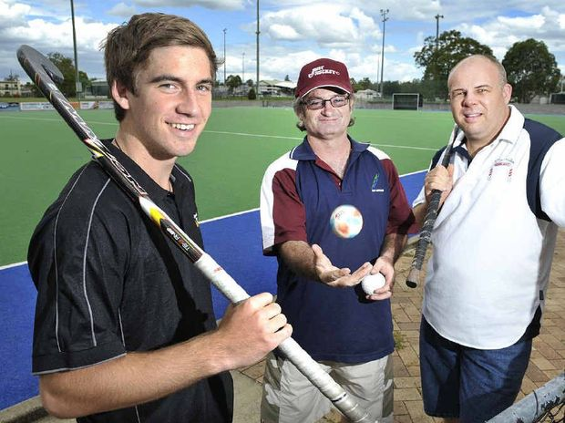 FUN TIME: Jarrod Brown, Neil Shearer and Phil Daly are super excited about the Ipswich Hockey open day on Sunday.
