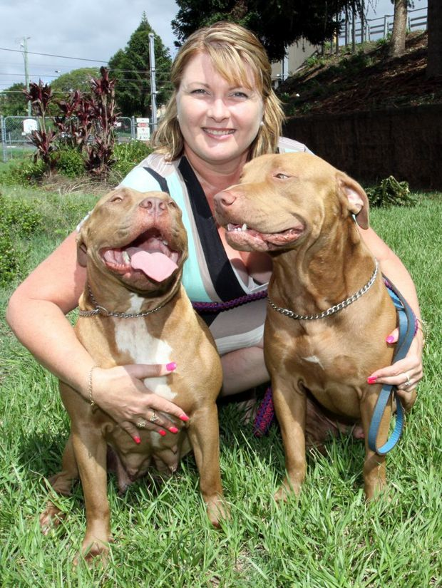 Melissa (name changed) with her Red Nose Pit Bulls Peppa and Storm. Photo Vicki Wood / Caboolture News
