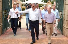 Ron Dyne and Campbell Newman having a walk around Gympie after the flood.
