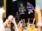 Bulldogs players James Graham and Corey Payne at Allenstown State School doing a talk on bullying. Photo Sharyn O'Neill / The Morning Bulletin