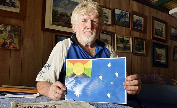 NEW FLAG: Keiron Butler with his design for a new Australian flag.