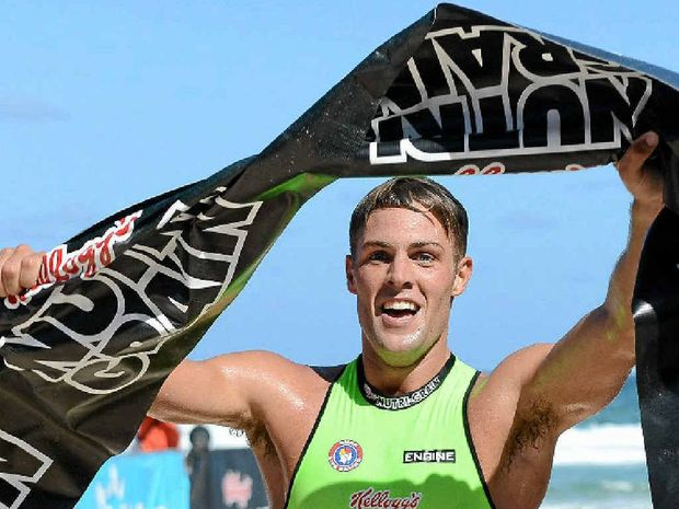 DUCK BROKEN: Kendrick Louis shows his delight after taking out the fourth round of the Kellogg's Nutri-Grain Ironman Series at Surfers Paradise yesterday.