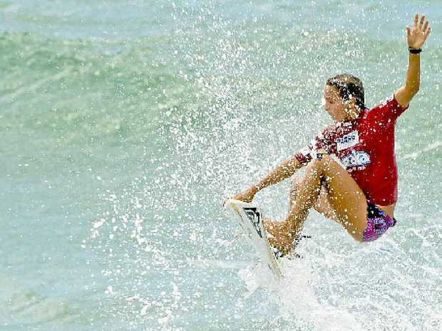 FLYING HIGH: World number two Sally Fitzgibbons busting a big air at the Burleigh Breaka Pro 6star WQS women's event.
