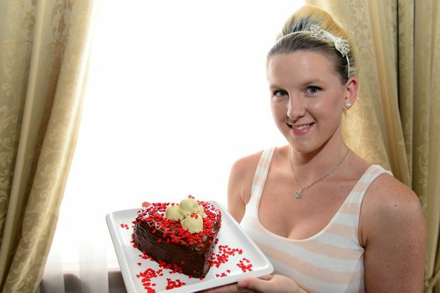 Samantha Cook makes her signature truffle love heart chocolate cake for Valentines Day. Photo Sharyn O'Neill / The Morning Bulletin